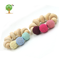 2 PCS SALE NURSING BRACELET TOY DONUT SHAPED WOODEN BEADS PINK PALE BLUE BABY GIRL BOY GIFT NEUTRAL STYLE EDUCATIONAL ET57