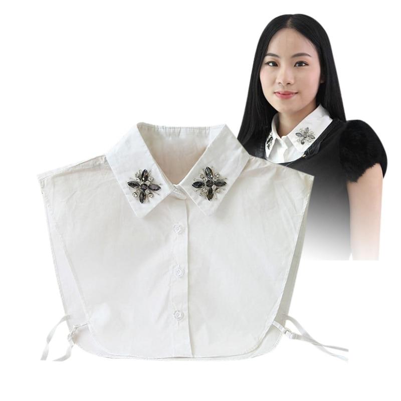 Media Perla Pan Retro Mujer Corbata Desmontable Decoración c Falsa Peter b A Blusa Camisa Collar Utnv1np