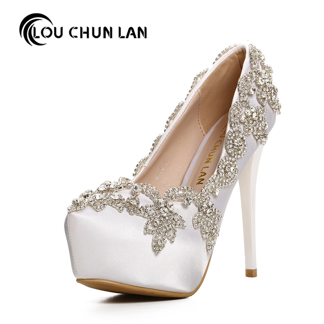 Louchunlan Women Pumps White Shoes Platform Wedding Elegant Silver Crystal Round Toe Free Shipping