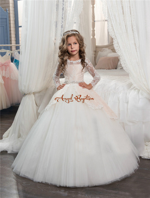 Pretty Princess Champagnewhite Lace Ball Gown Flower Girl Dresses
