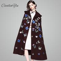 Ceciliayu 2018 осень и зима элегантные ретро Китайский Стиль печати тяжелой промышленности тысяч Бабочка Длинный плащ пальто женские