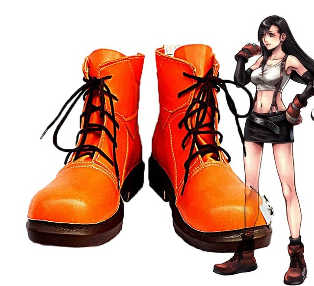 Final Fantasy VII FF7 Tifa Lockhart Cosplay Shoes Boots Custom Made Orange