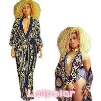 2018 Summer Dress Maxi Dress Beach Wear 2 Pieces Chiffon Print Floral Deep V Neck Loose Casual Women Sexy Clothes long Sleeve