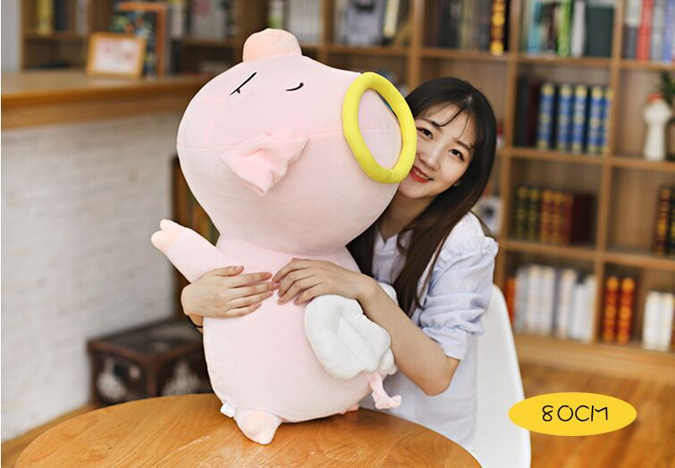 big creative plush pink pig toy soft angel pig pillow doll gift about 80cm 2674 lovely giant panda about 70cm plush toy t shirt dress panda doll soft throw pillow christmas birthday gift x023