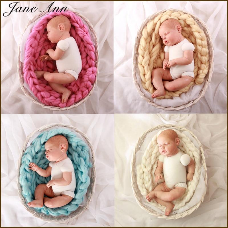 Jane Z Ann Novorozené fotografické rekvizity Baby Photo Deka 4M Dlouhé koše Akrylové plničky Braid Basket Stuffer atrezzo fotos bebe