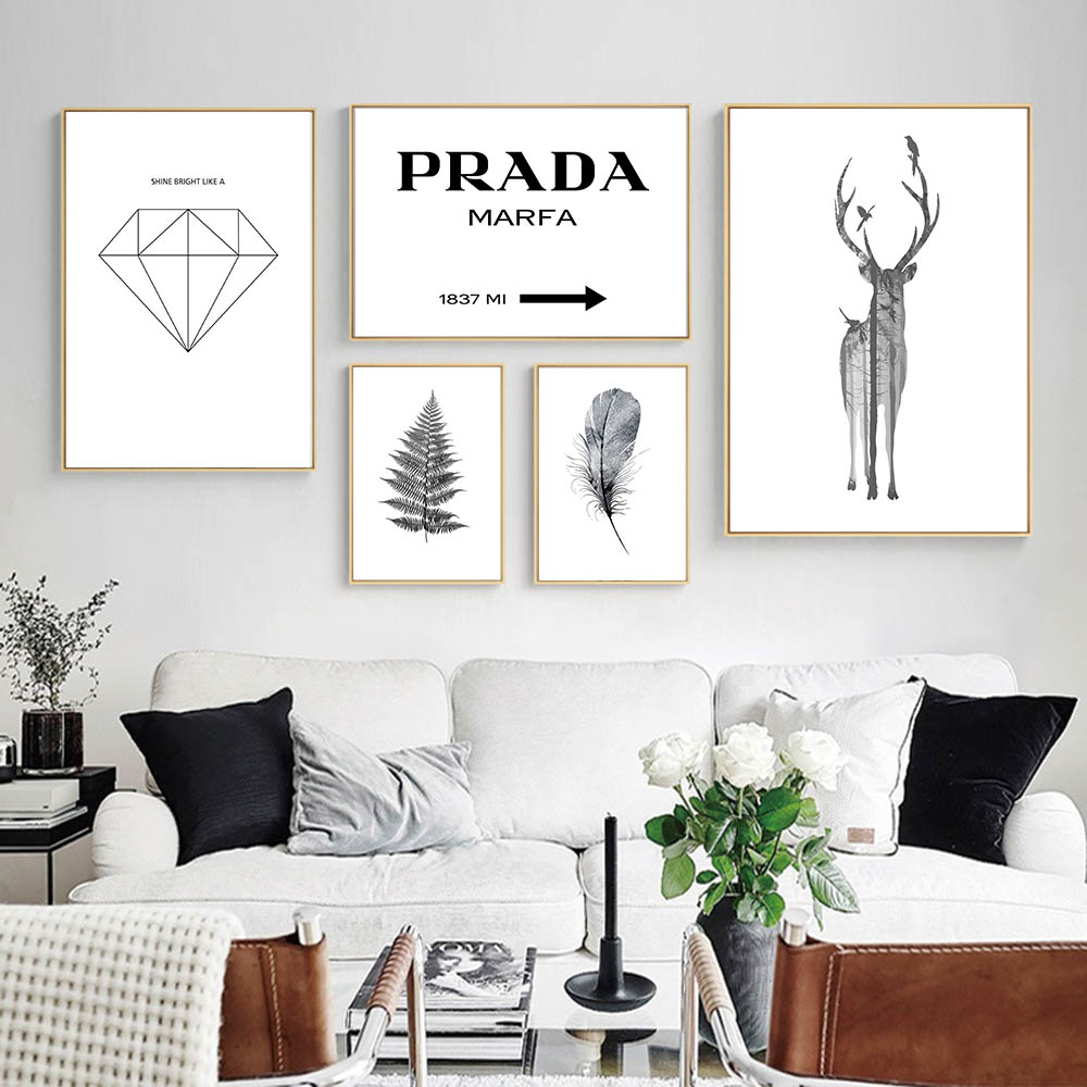 PRADA Deer Silhouette Feather Nordic Wall Art Canvas Posters and Prints Abstract Canvas  ...
