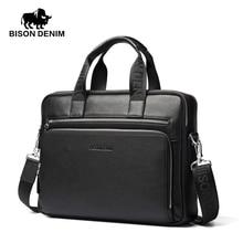 Bison denim 14''laptop sacos dos homens pastas de couro genuíno saco homens maleta bolsa de negócios bolsa de couro macio para o presente(China (Mainland))
