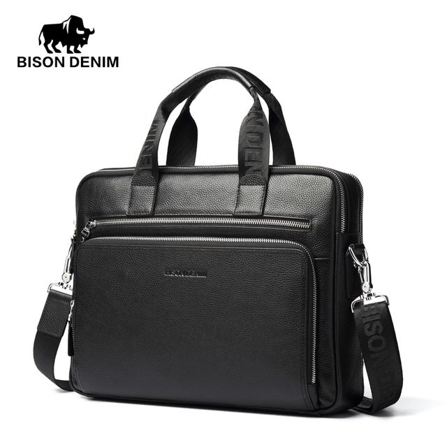 Bison denim genuínos pastas de couro de 14 polegadas laptop sacos de pasta dos homens vestido de negócios da bolsa saco de couro macio homens presente