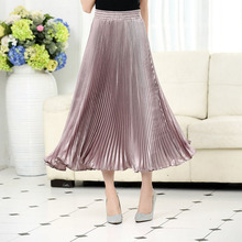 Metallic luster polyester pleated skirt foreign trade original single long spinning smooth silk