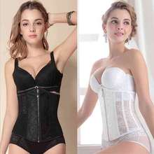 New Sexy Lady Wedding Bride Corset Top Tummy Cincher Black White Lace Hollow Out Overbust Lace Up Corset Bustiers S 2XL