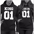 King&Queen 2017 Fashion Harajuku Hoodies Casual Couple Clothes Hooded Women Sweatshirt Letter Print Fleece Pullover Plus Size