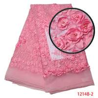 Bridal Fabric Nigerian Beaded Lace Fabrics 3d Lace Appliques African Lace Fabric In Pink High Quality
