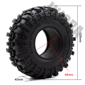 "Image 2 - 4PCS 1.9"" Rubber Tyre / Wheel Tires for 1:10 RC Rock Crawler Axial SCX10 90046 AXI03007 Tamiya CC01 D90 D110"