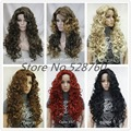 Woman's Blonde/black/brown Long Wavy Curly Wigs High quality synthetic hair wigs free shipping