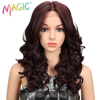M Wig 20Inch Ombre Gold Dark Red Long Wavy Wigs Perucas Front Lace Hair Synthetic Lace Wigs For Black Women Loose Wave Wigs