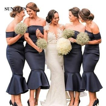 Off the Shoulder Mermaid Bridesmaid Dresses Boat Neck Black Satin Wedding Party Dresses Tea-Length vestido dama honor SBD161