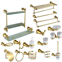 Luxury gold Brass Copper High quality 17PCS/Set golden bathroom ware Bathroom hardware accessories Set