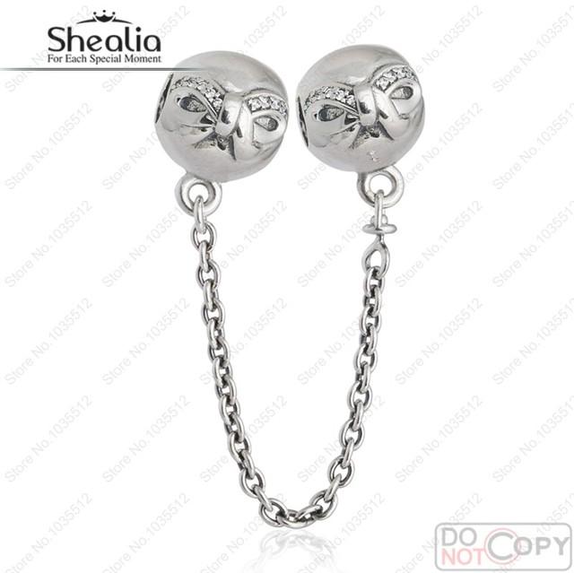 Autêntico 925-Sterling-Silver Arco Fio Corrente de Segurança Charme Beads AAA Cubic Zirconia Mulheres Fine Jewelry Fit Pulseira Shealia