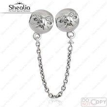 Auténtico 925-Sterling-Silver Arco Cadena de Seguridad de Rosca Granos Del Encanto AAA Cubic Zirconia Mujeres Joyería Fina Ajuste Shealia Pulsera
