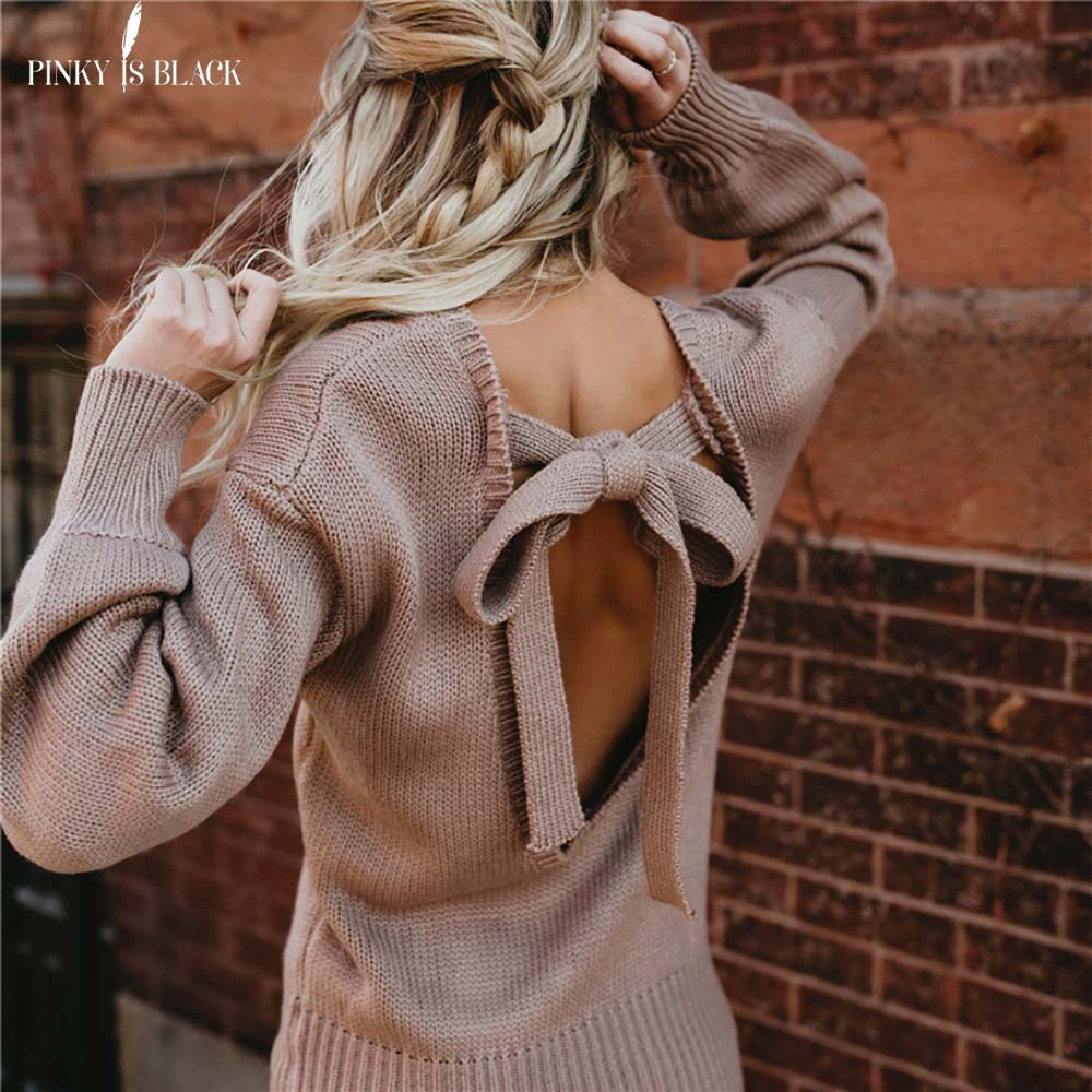 PinkyIsBlack sweater women pullover warm knitted Backless Bow tie lace up batwing sleeve o neck sweater loose long sleeve in Pullovers from Women 39 s Clothing