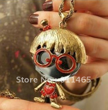 Min.order is $15 (mix order) Vintage Glasses doll pendant necklace vs crystal  ,Free shipping~!!!