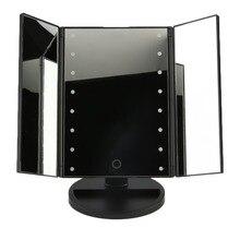 Portable Three Folding Table LED Lamp Luminous Makeup Mirror Cosmetic Mirror Adjustable Tabletop Countertop Light Mirror Hot