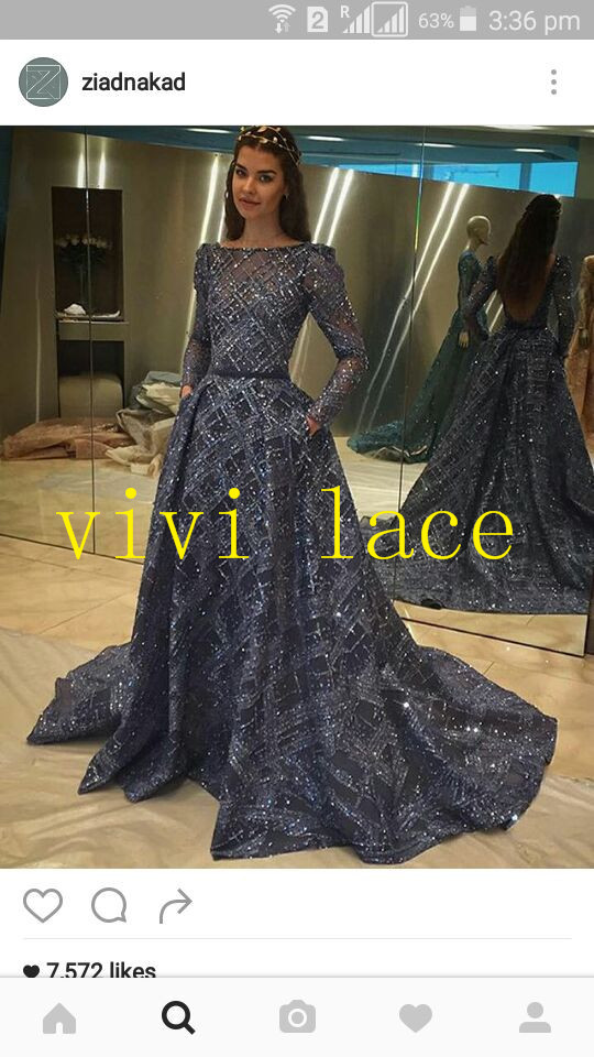 VV001 fashion show navy blue silver sequin embroidery tulle mesh lace for stage  show evening dress party 5a4da22b2e92