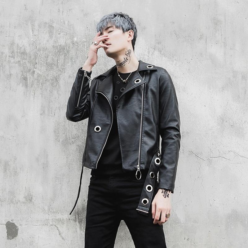 NEW Men Leather Jacket Fashion Punk Gothic Motorcycle Jacket Male Slim Fit Short Leather Coat Rock Stage Show Costumes