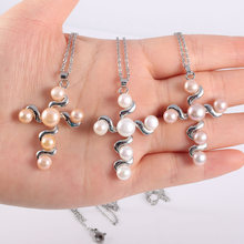 цена на Women Pearl Necklace Chain Necklaces Pendants Cross Necklace Pendant for Women Gift