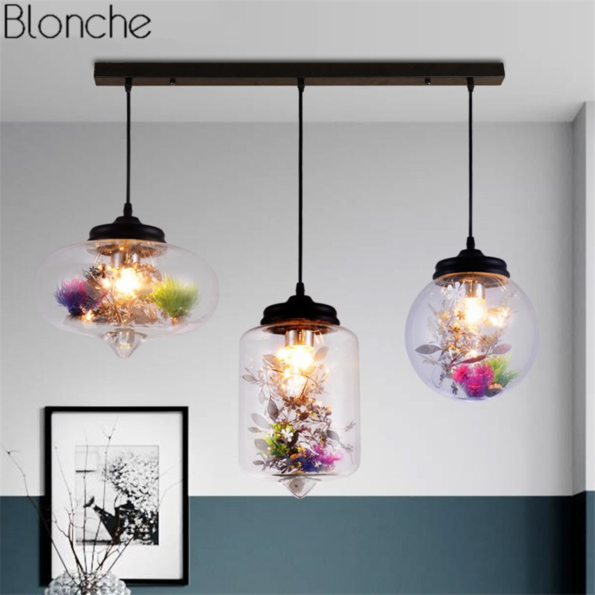 Modern Glass Pendant Lights Led Flowers Hanging Lamp for Bedroom Bar Home Kitchen Industrial Decor Light Fixtures Luminaire E27