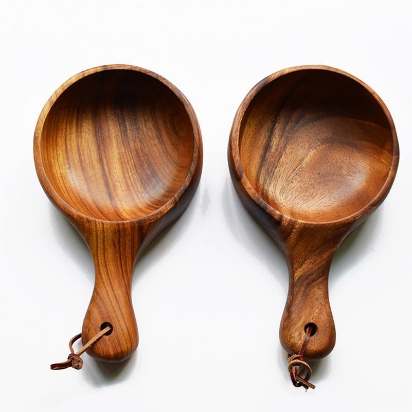 Solid acacia wood ramen bowls handle wooden plates home