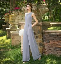 2019 Women Summer Jumpsuit Party Overalls Rompers Chiffon High Street Elegant Gray Color Full Length Jumpsuits Plus Size 3XL 4XL 2019 women summer jumpsuit party overalls rompers chiffon high street elegant gray color full length jumpsuits plus size 3xl 4xl