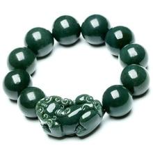 Дропшиппинг натуральный Синьцзян HeTian Qing Jade браслеты счастливый амулет круглые бусины отважных солдат браслет и браслеты для женщин и мужчин