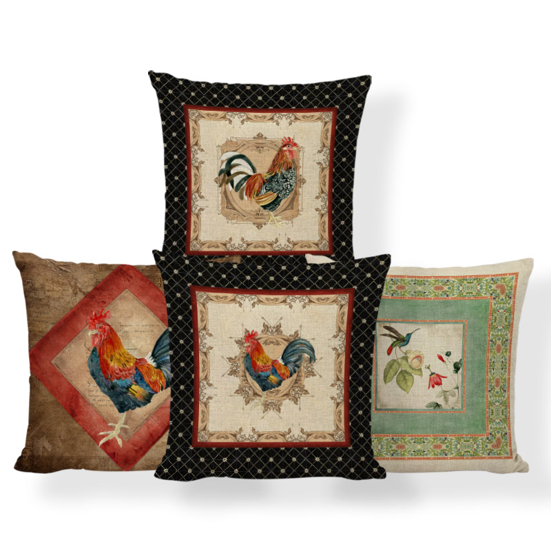 Hummingbird Flowers Cushion Cover Animal Cock Hen Pillow Rock Headboard Baby Birth Gifts Throw Pillow Cover 45X45Cm Polyester