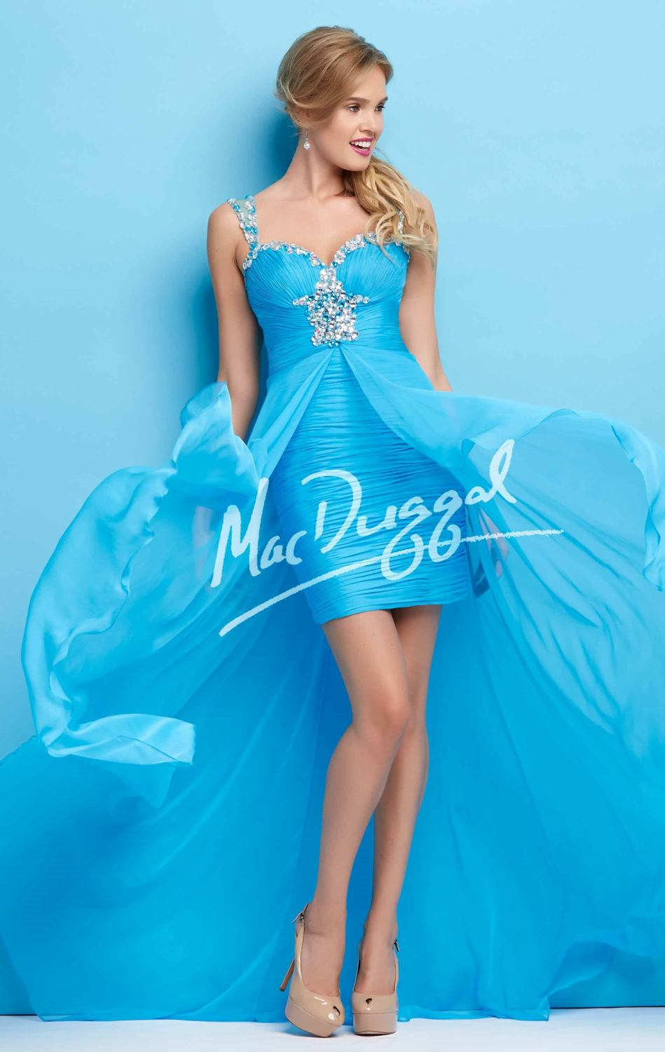 2016 Sweetheart Neckline Coral Sky Blue Color High Low Style Prom ...