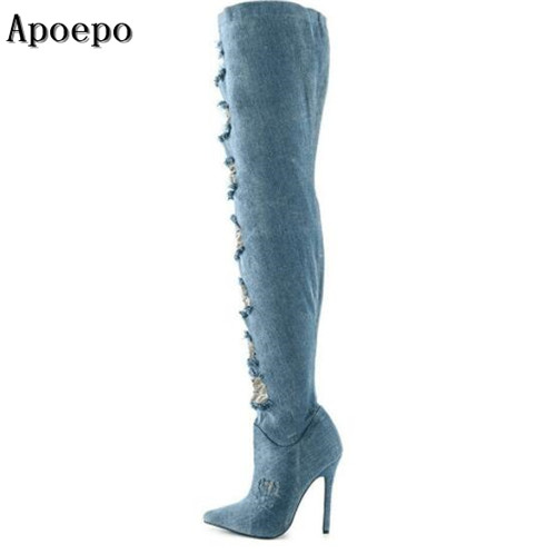Apoepo brand sexy pointed toe high heel boots 2018 fashion cutout thin heels boots over the knee woman shoes thigh high boots