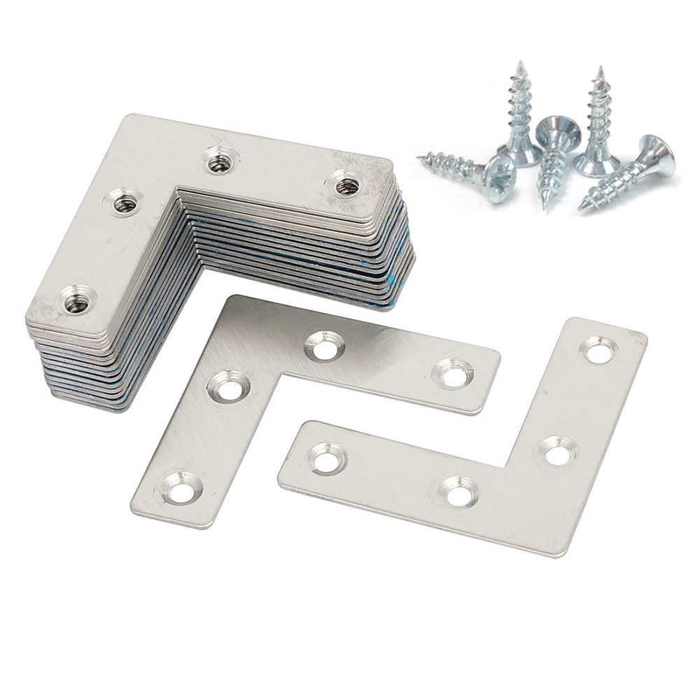 8 Pieces 10 Pieces 20Pieces Stainless Steel L-joint 90 Degree Right Angle Fixed Iron Plate Corner Bracket With Screws
