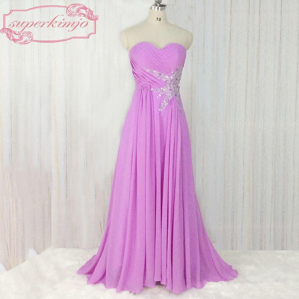 Superkimjo vestidos de gala 2018 una línea de gasa púrpura Vestidos ...