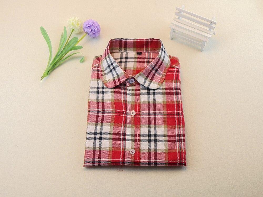 Осень клетчатую рубашку женщин блузки с длинным рукавом блузка женщины плед Blusas Femininas фланель женская верхняя одежда мода