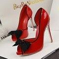 Verão novo Doce Verão Bowtie sapatos de Salto Alto Para Mulheres Saltos Finos bombas Peep Toe Aberto Lado Vazio Bowknot Oco Sapatos Único G1022