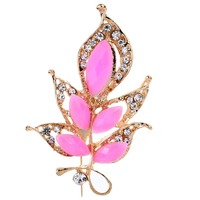 Fashion Lovely Pink Flower Carve Shining Crystal Brooch Wedding Party Gift