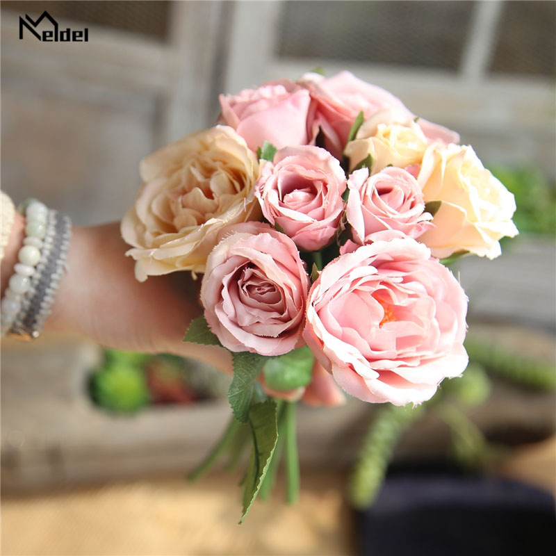 Meldel Bouquet Bridal Wedding Flowers Bridesmaids Holder Wedding Bouquets Artificial Silk Rose Home Party Prom Wedding Supplies