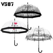 Полуавтоматический дождливый декорации город длинной солнечный ручкой зонтик прозрачный открытом воздухе