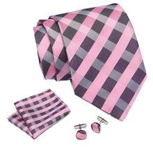 Men ties set Pink Plaid Extra Long Size 145cm*7.5cm Necktie navy blue Paisley Silk Jacquard Woven Neck Tie Suit Wedding Party
