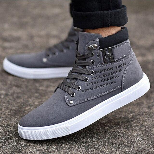 Venta caliente de Los Hombres Zapatos de Moda de Piel Caliente Invierno Hombre Botas Calzado Nuevo Top del Alto de Lona de cuero Casual Zapatos Hombres Zapatillas Hombre