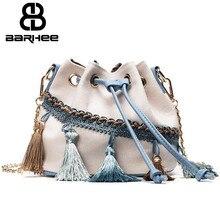 Ladies Canvas Tassel Bags National Bucket Mini Crossbody Bags Fringe Shoulder Bag Bucket Retro Handbag Chains Beach Bag European