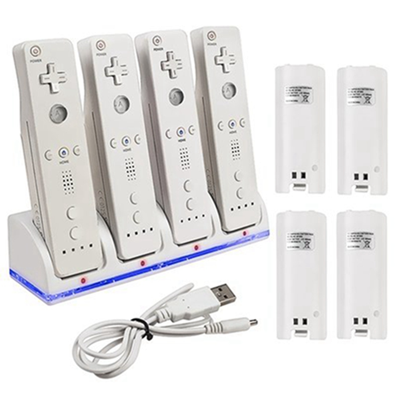 Battery Charger Stand + 4x 2800mAh Rechargeble Battery Pack Plus Charger Dock Station Stand For Wii Controller Gamepad Joystick  new charger dock 2 x battery for nintendo wii remote
