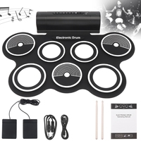 7 Pads Electronic Roll up Silicone Drum Double Speakers Stereo Electric Drum Kits with Drumsticks and Sustain Pedal