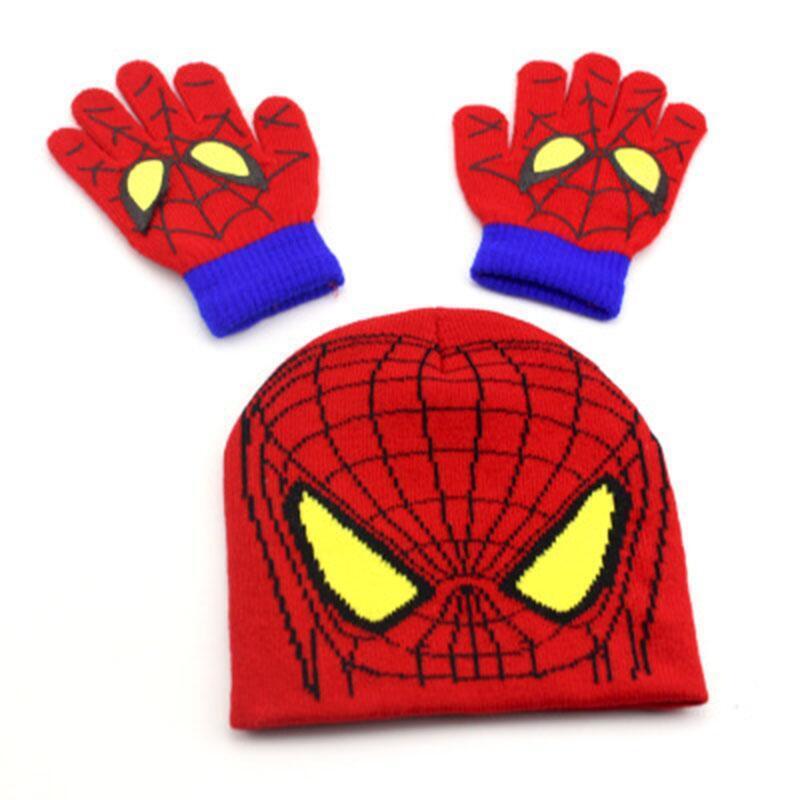 BINGYUANHAOXUAN-Autumn-Winter-Girls-Boys-Hat-Set-Cartoon-Spider-Man-Warm-Cap-knitted-Hat-Gloves-Children-Hat-Sets-Bonnet-Gorro-2