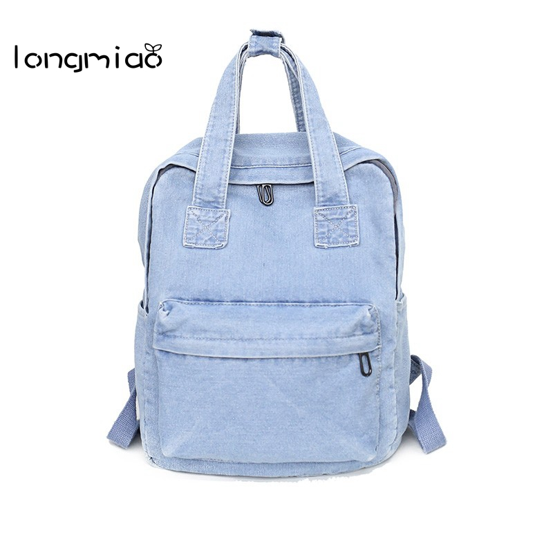 longmiao Denim Jeans Women Backpack for School Teenagers Girls Vintage Stylish Schoolbags Ladies Backpack Female Bookbag Mochila